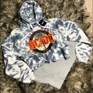 AC/DC sweatshirt cropped hoodie,